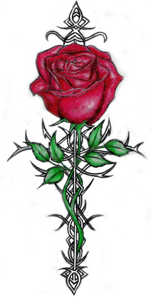 tribal rose tattoo 490x959 00019256 - tribal-rose-tattoo_490x959_00019256